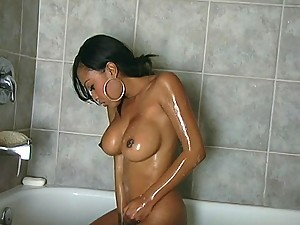Lacey the hottest ebony girl takes a shower and then gets fucked