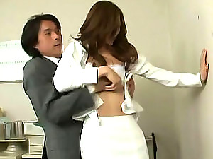 Pissed off Japanese boss rapes her lovely secretary